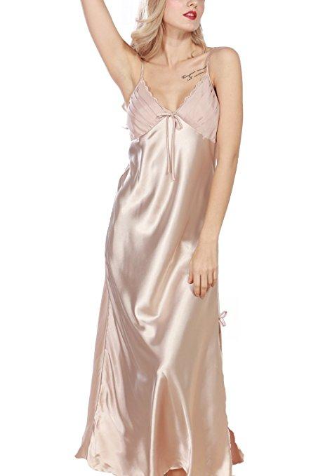 96589d6747 iooho Women s Pajamas Satin Nightgown Long Sleeveless Sleepwear Slip ...