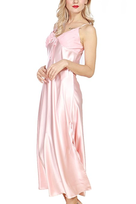 3fff8df96a iooho Women s Pajamas Satin Nightgown Long Sleeveless Sleepwear Slip ...